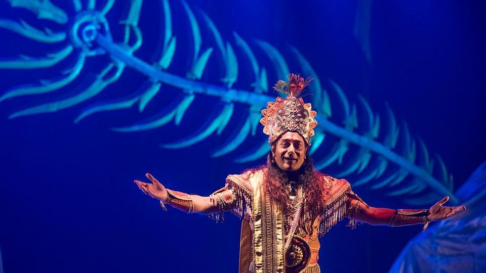 Actor Nitish Bharadwaj, who played the iconic role of Krishna in the serial Mahabharat reprises the character in the play Chakravyuh. (Satish Bate/HT Photo)