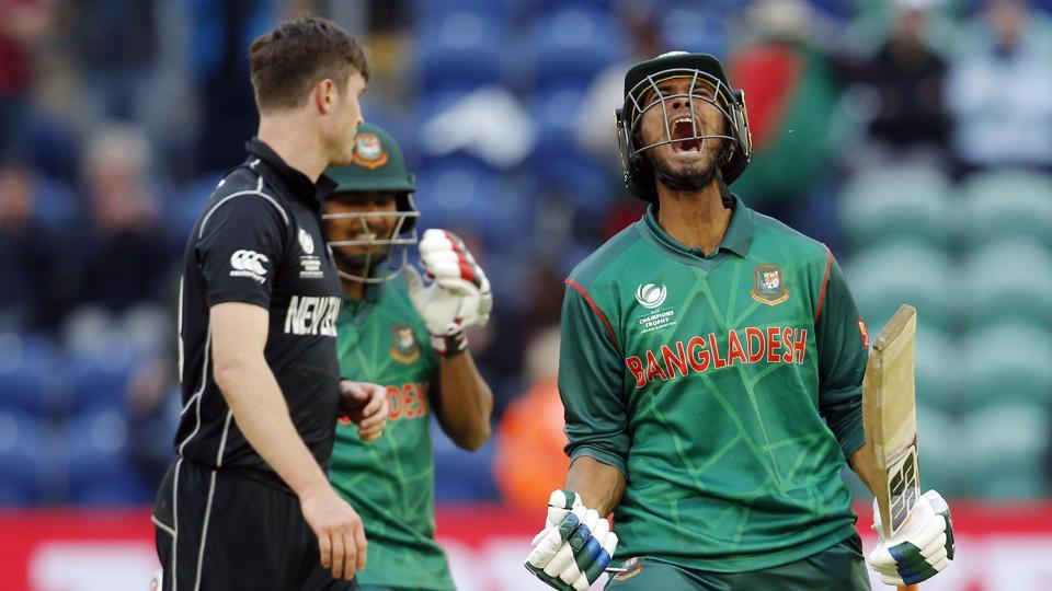 Bangladesh rode on centuries from Mahmudullah and Shakib Al Hasan to stun New Zealand by five wickets in their final ICC Champions Trophy Group A match. (REUTERS)