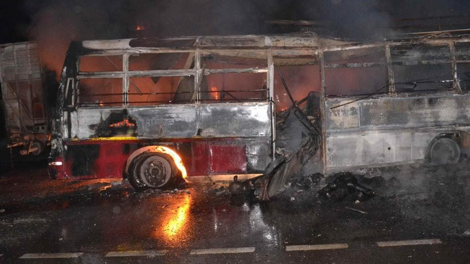 Twenty-four people were charred after a UPSRTC bus caught fire on National Highway 24 in Bareilly around 1am on Monday.