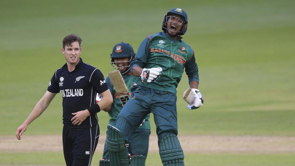 Bangladesh's Mahmudullah celebrates his side's victory over New Zealand in the ICC Champions Trophy, Group A match at Sophia Gardens, Cardiff on Friday. Watch video highlights of New Zealand vs Bangladesh here.