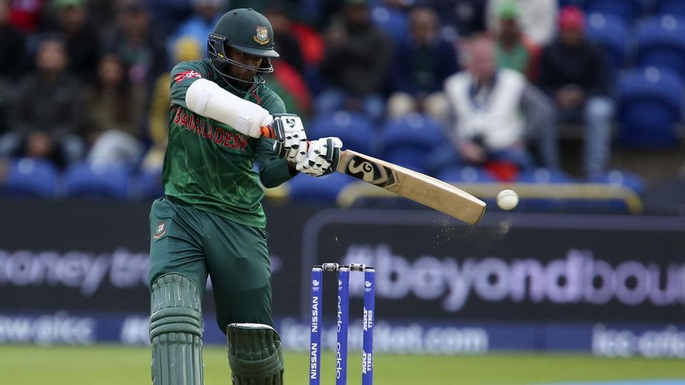 Shakib Al Hasan in action during the ICC Champions Trophy Group B game between New Zealand and Bangladesh. Catch the full cricket score of New Zealand vs Bangladesh here