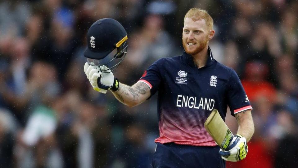 England's Ben Stokes celebrates his century against Australia in their ICC Champions Trophy Group A match at Edgbaston.