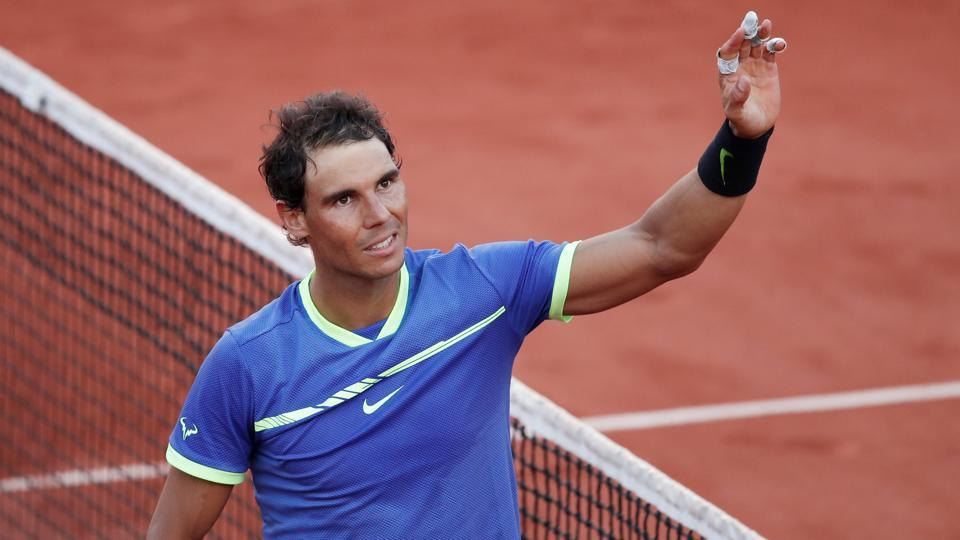 Spain's Rafael Nadal celebrates winning his French Open semi final match against Austria's Dominic Thiem.