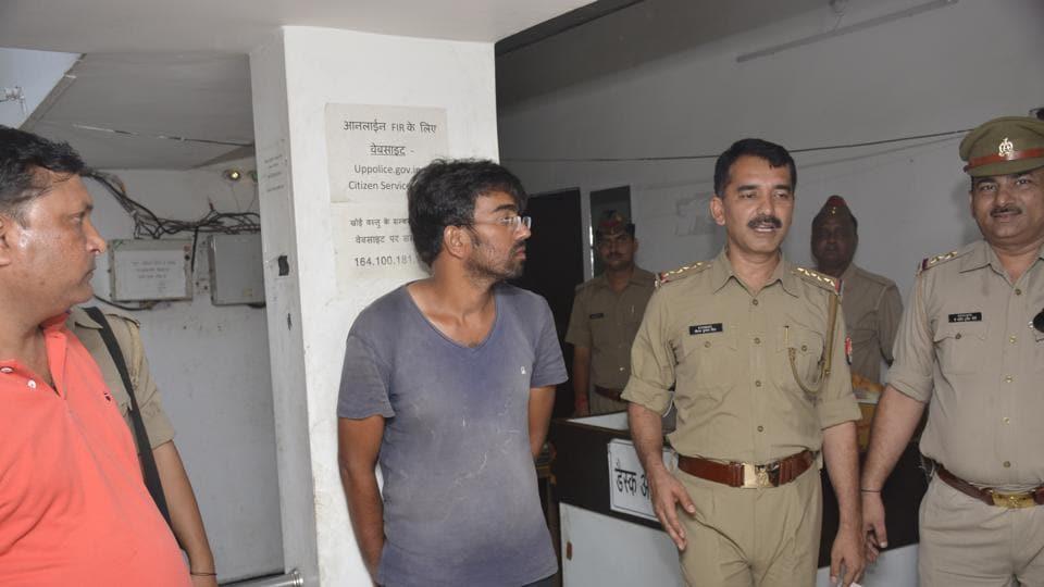 Anuj Tyagi in police custody.