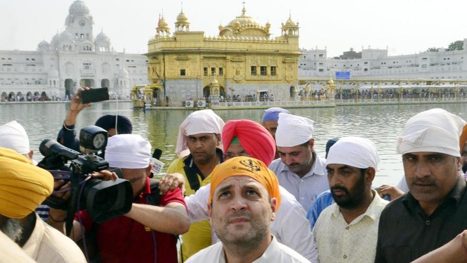 Congress vice-president Rahul Gandhi paying obeisance at Golden Temple, Amritsar on Saturday.