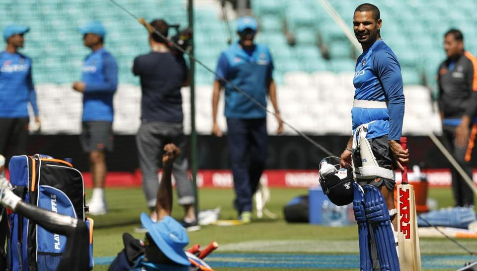 Shikhar Dhawan, one of India's batting mainstays, during a practice session on Saturday. (REUTERS)