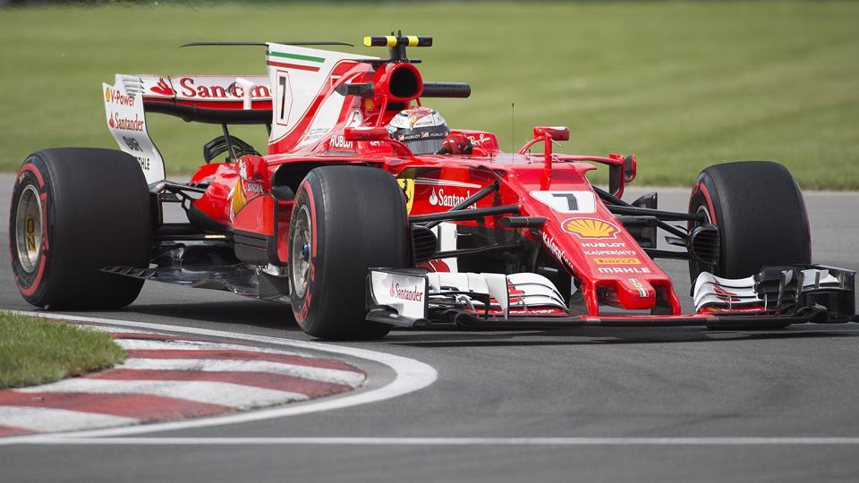 Ferrari driver Kimi Raikkonen of Finland takes a turn at the Senna corner during the second practice session at the Canadian Grand Prix in Montreal on Friday.