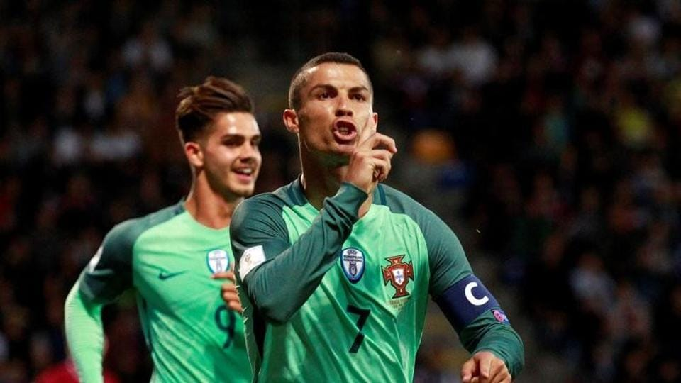 Portugal's Cristiano Ronaldo celebrates scoring their first goal against Latvia in 2018 FIFAWorld Cup qualifiers.