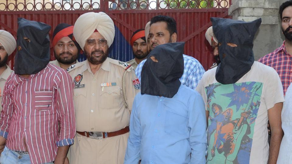 Murder suspects under police custody in Ludhiana on Saturday.