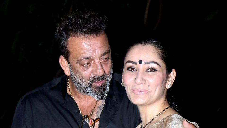 Bollywood actor Sanjay Dutt with his wife Manyata Dutt at celebration for the completion of the film Bhoomi.