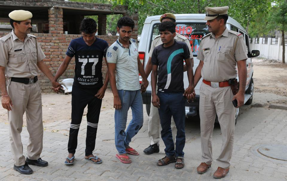 The three Manesar gang-rape accused were produced in court on Saturday.