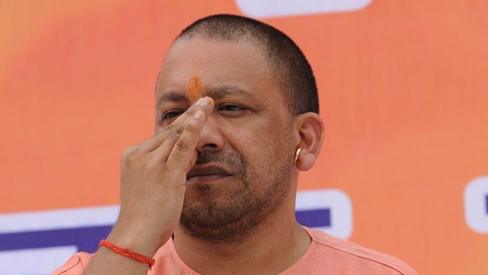 Chief minister Yogi Adityanath does yoga in Raj Bhavan ahead of the June 21 International Yoga Day.