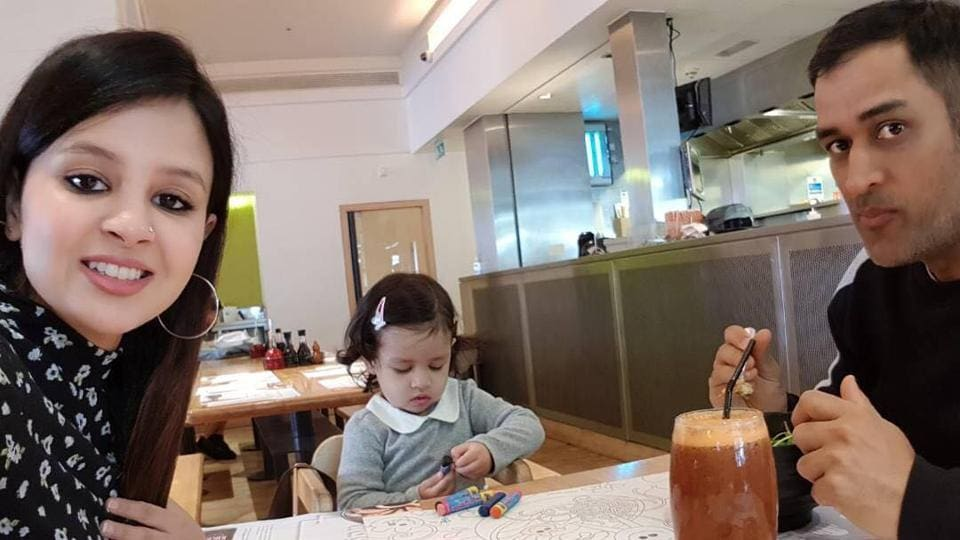 MS Dhoni decided to spend some quality time with his wife Sakshi and daughter Ziva ahead of a crucial match in the ICC Champions Trophy 2017 encounter