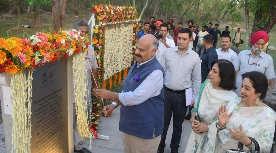 Chandigarh administrator VP Singh Badnore with MP Kirron Kher unveiling a plaque that declares the Capitol Complex as a World Heritage site on Saturday.