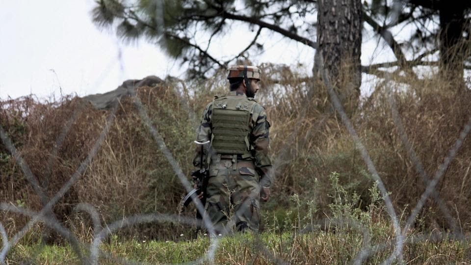 An Indian Army jawan patrolling at the Line of Control (LOC) in Poonch district of Jammu and Kashmir on Wednesday.