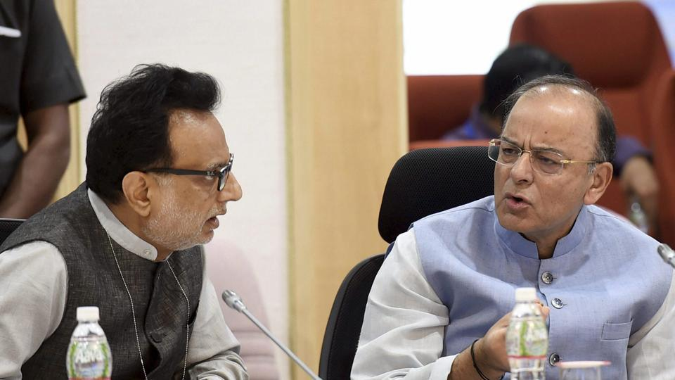 Union minister for finance and corporate affairs Arun Jaitley and revenue secretary Hasmukh Adhia during the 16th GST Council meeting at Vigyan Bhawan in New Delhi on Sunday.