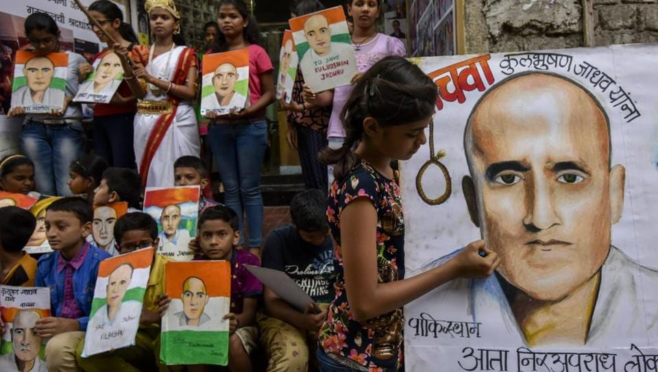 Students protest against Kulbhushan Jadhav death sentence at Lalbaugh in Mumbai.