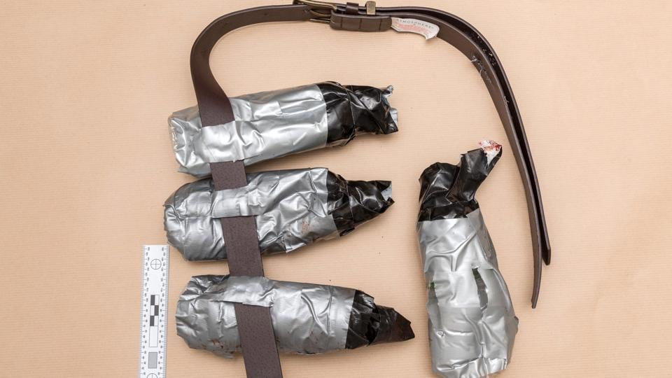 A handout picture released by the Metropolitan Police Service (MPS) on June 11, 2017 shows a fake suicide belt worn by the attackers during the June 3 attacks on London Bridge and Borough Market.