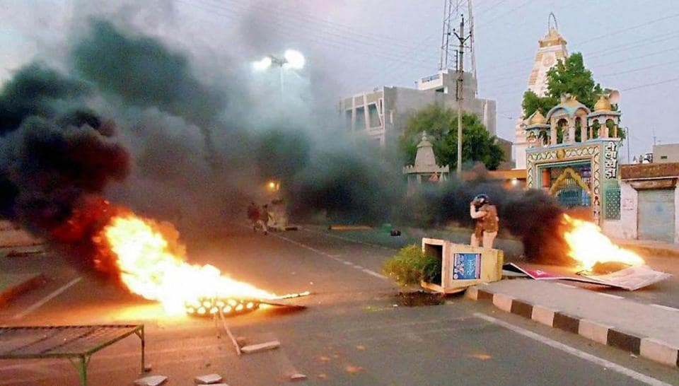 A scene after violent clashes between farmers and the police at Pipliya in Mandsaur district of Madhya Pradesh on June 6.