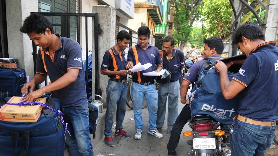 Workers of EKart before starting delivery in Kolkata. E-commerce is the only candidate for an industry that emerged in the 2010s , but is still unprofitable and  unlikely to turn profitable anytime soon.