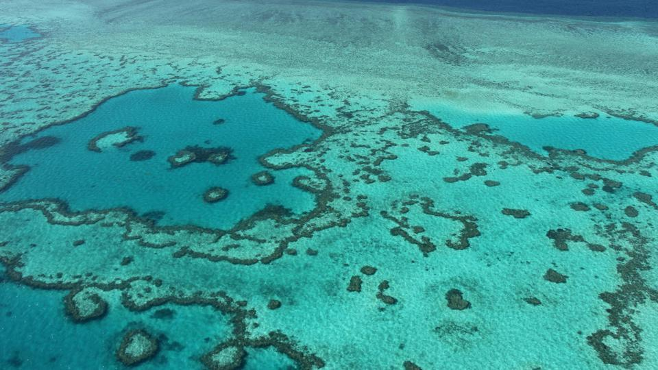 An aerial view of the Great Barrier Reef along the central coast of Queensland. Coral bleaching is expected  to accelerate unless global greenhouse gas emissions are cut.  (Sarah LAI / AFP File)