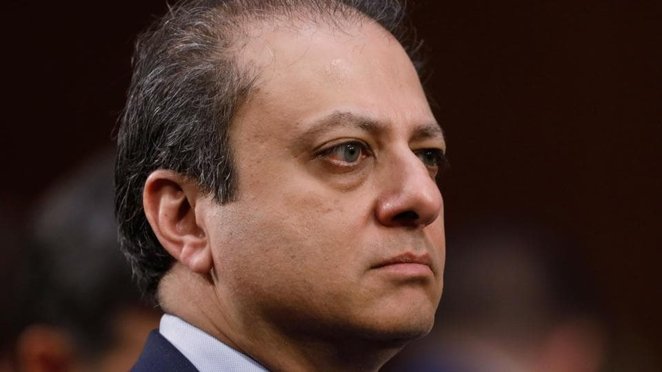 Former US attorney Preet Bharara listens to former FBI director James Comey's testimony at the Senate intelligence committee on Thursday.