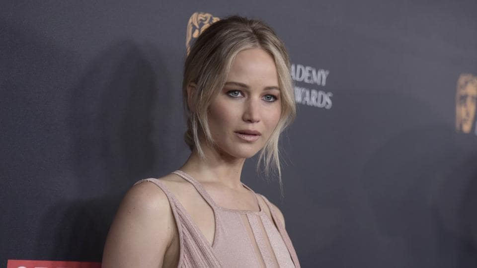 Jennifer Lawrence arrives at the BAFTA Los Angeles Britannia Awards at the Beverly Hilton Hotel in Beverly Hills.