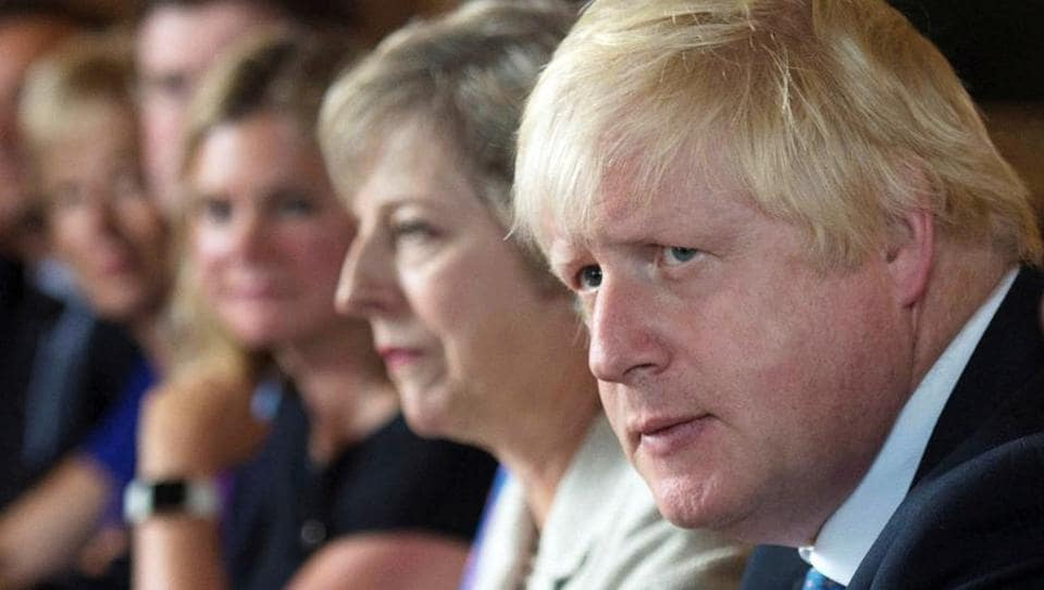 Boris Johnson attends a cabinet meeting hosted by Theresa May at the Prime Minister's country retreat Chequers in Buckinghamshire.