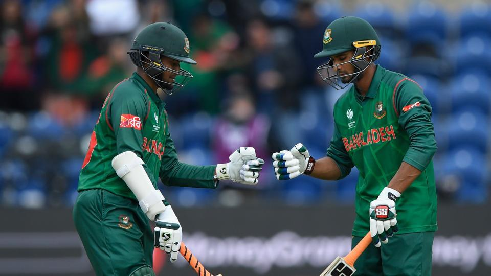 Shakib al Hasan (L) and Mohammad Mahmudullah's 224-run stand guided Bangladesh to a five-wicket win over New Zealand in a 2017 ICC Champions Trophy game at Cardiff.