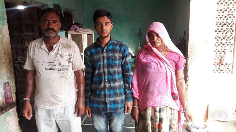 Bhairulal with his parents.