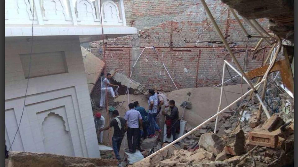 Rescue operation on after the gurdwara building collapsed in Panipat on Monday.