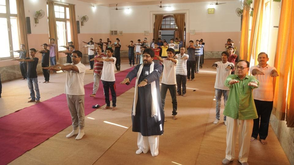 A yoga session being conducted at Shia Post Graduate Degree College in Lucknow.
