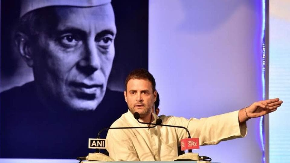 Rahul Gandhi during the release of comemorative issue of National Herald newspaper at Dr Ambedkar Bhawan in Bengaluru.