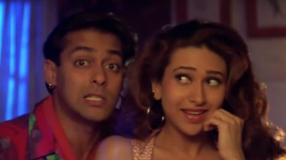 Karishma Kapoor and Salman Khan in a still from Judwaa.