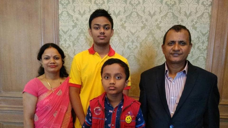 Rahul (in yellow) with his family.
