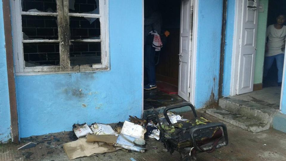 Office of the sub- assistant engineer of the state public works department at Lebong Cart Road set on fire.
