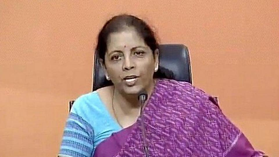 Union minister Nirmala Sitharaman at a press conference in Delhi on Monday.