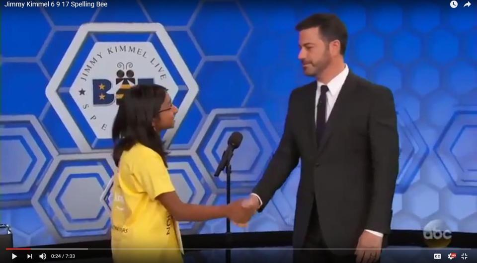 US spelling bee champion Ananya Vinay takes on Jimmy Kimmel in a mock competition (Screengrab)