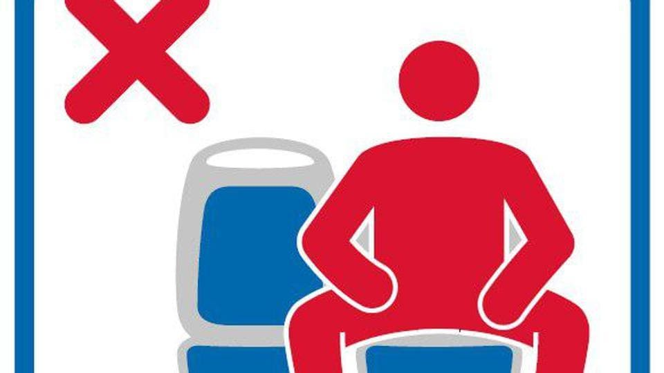 Madrid authorities started putting up signs banning the practice of 'manspreading'.