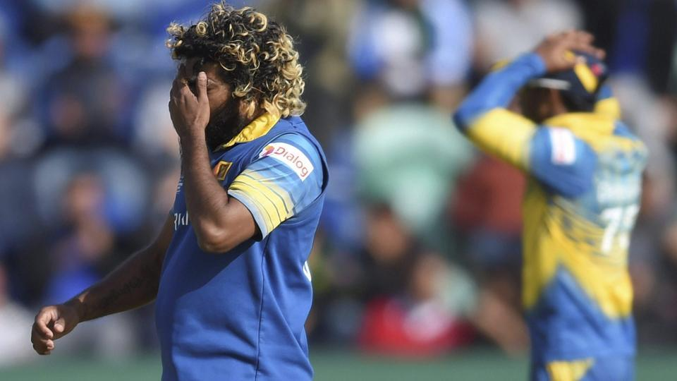 Sri Lanka's Lasith Malinga reacts as a catch is dropped during the ICC Champions Trophy encounter. (AP)