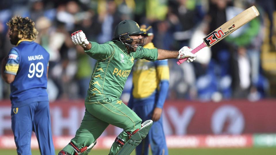 Pakistan cricket team captain Sarfraz Ahmed celebrates hitting the winning runs in the ICC Champions Trophy Group B match against Sri Lanka cricket team on Monday.