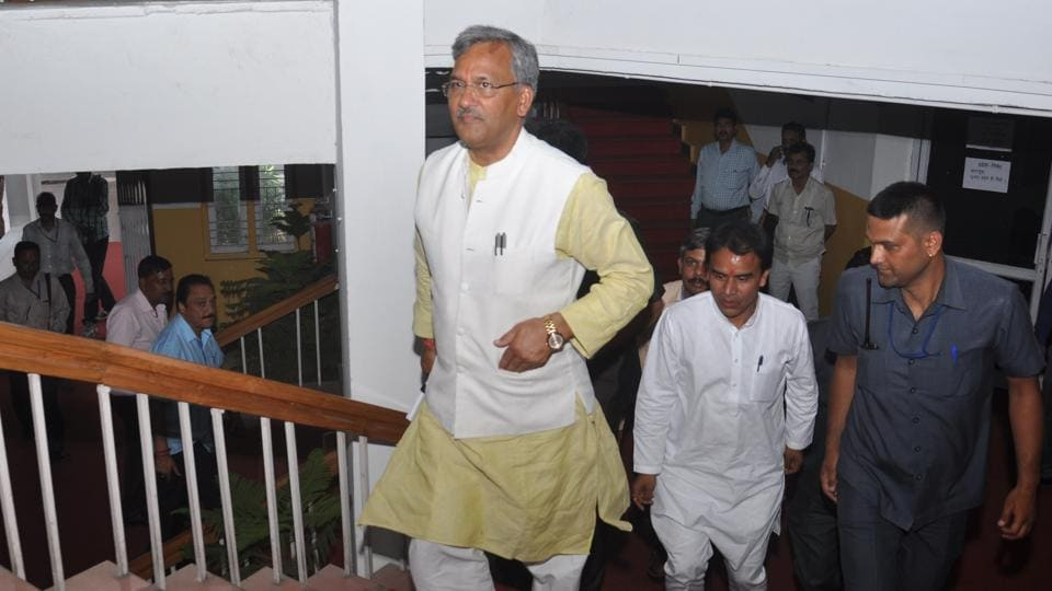 Chief minister Trivendra Singh Rawat arrives in the state assembly on Monday.