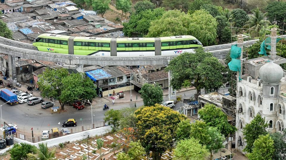 The Mumbai Metropolitan Region Development Authority (MMRDA)conducted a trial run on the 10.6km phase-2 of monorail on Tuesday. (Kunal Patil/HT Photo)