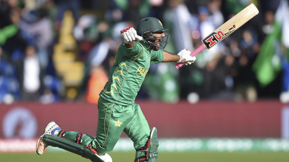 Pakistan captain Sarfraz Ahmed celebrates hitting the winning runs during the ICC Champions Trophy match against Sri Lanka. (AP)