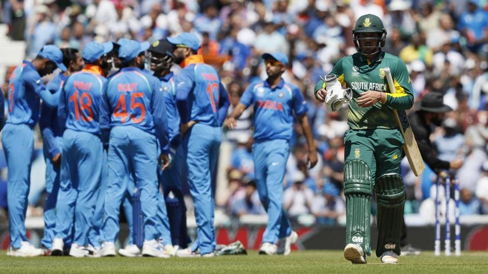 South Africa suffered a batting collapse against India in their must-win Group B game against India at the ICC Champions Trophy on Sunday, to crash out of the tournament.