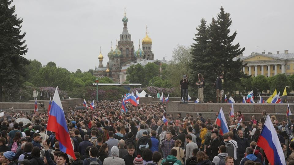 Demonstrators take part in an anti-corruption protest in central St. Petersburg, Russia.