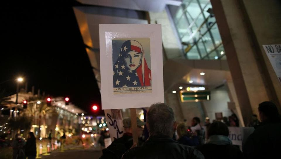 Protesters at a rally against the travel ban at San Diego International Airport in San Diego, California.