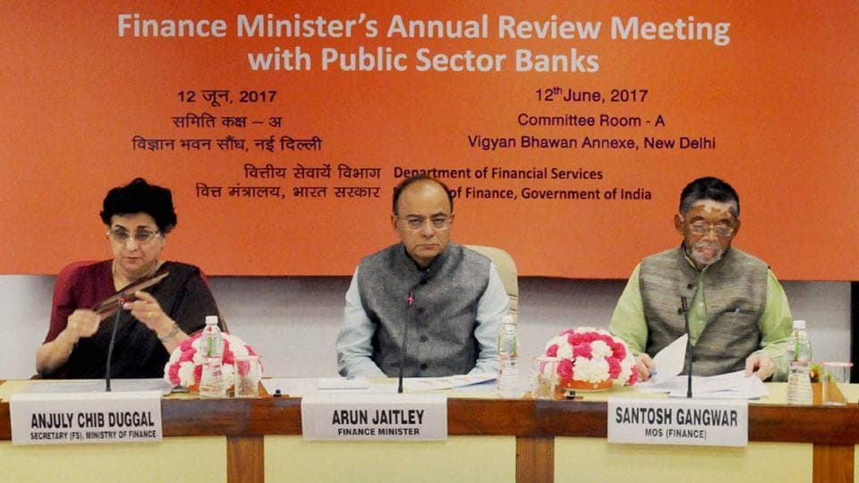 Union Minister for Finance, Corporate Affairs and Defence, Arun Jaitley chairing the Meeting of the CMDs/CEOs of Public Sector Banks in order to review their performance, in New Delhi on June 12, 2017.