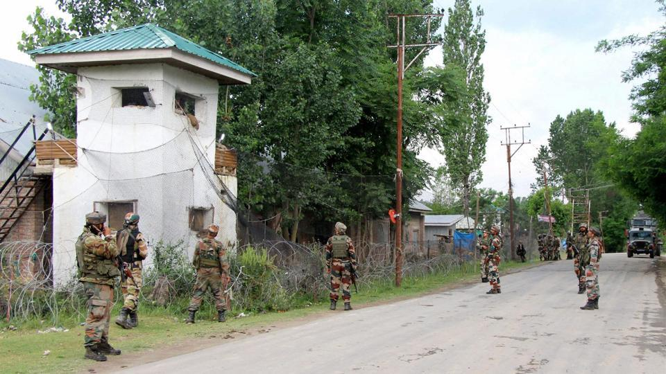 Security personnel take positions to combat four Suicide bombers who attacked a CRPF camp, at Sumbal in Bandipora district of north Kashmir on June 4th. (PTI)