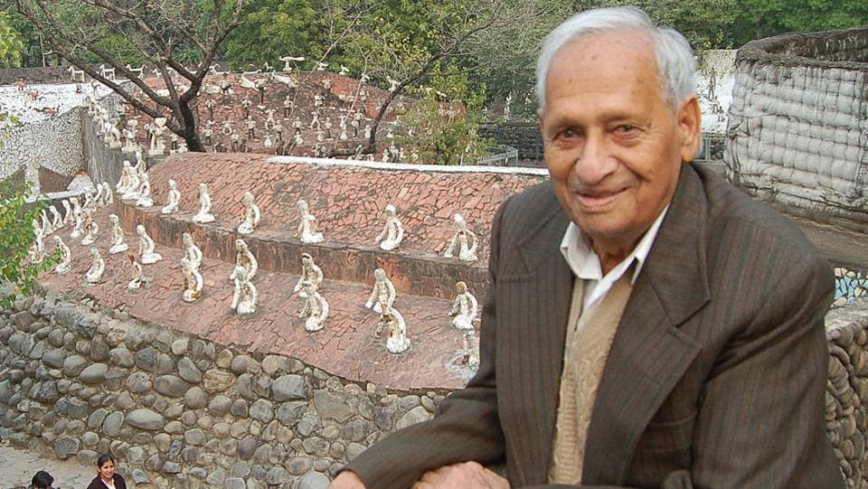 Nek Chand set stones around the little clearing near Sukhna Lake and then sculpted a few figures from discarded and recyclable material he found at hand. (HT File Photo)
